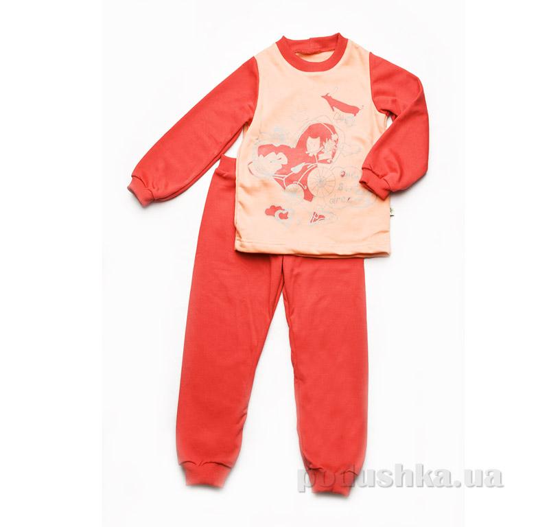 Пижама детская утепленная для девочки Модный карапуз 03-00611 Коралл-персик