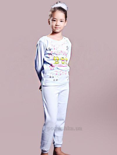 Пижама для девочки Kitten rock светло голубой ТМ Niso Baby 1231b