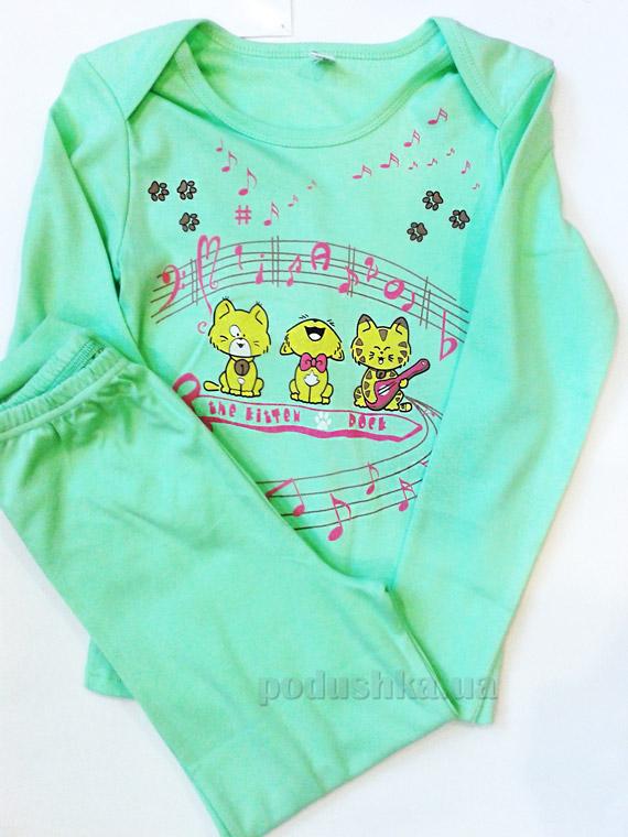 Пижама для девочки Kitten rock светло зеленый ТМ Niso Baby 1231g