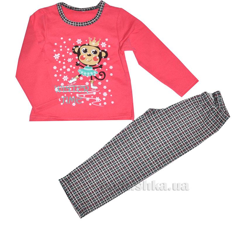 Пижама для девочки МТФ 1299 П клетка коралловый