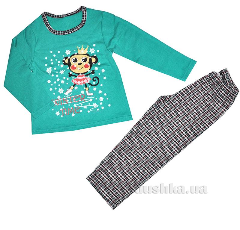 Пижама для девочки МТФ 1299 П клетка ментоловый