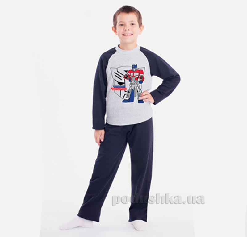 Пижама для мальчика МТФ 00415 П сине-серая