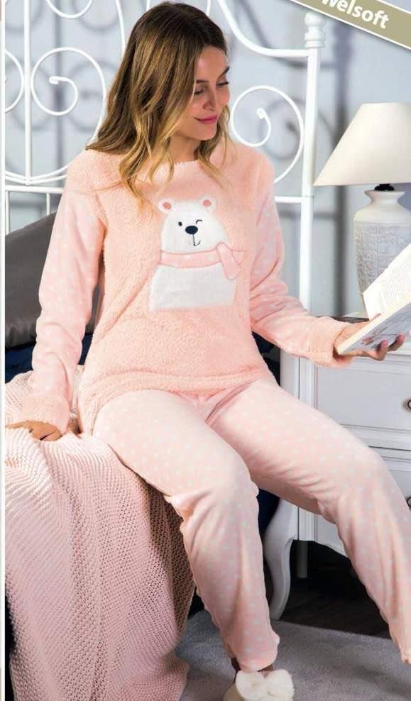 Пижама теплая Elitol 19507 персиковая с мишкой