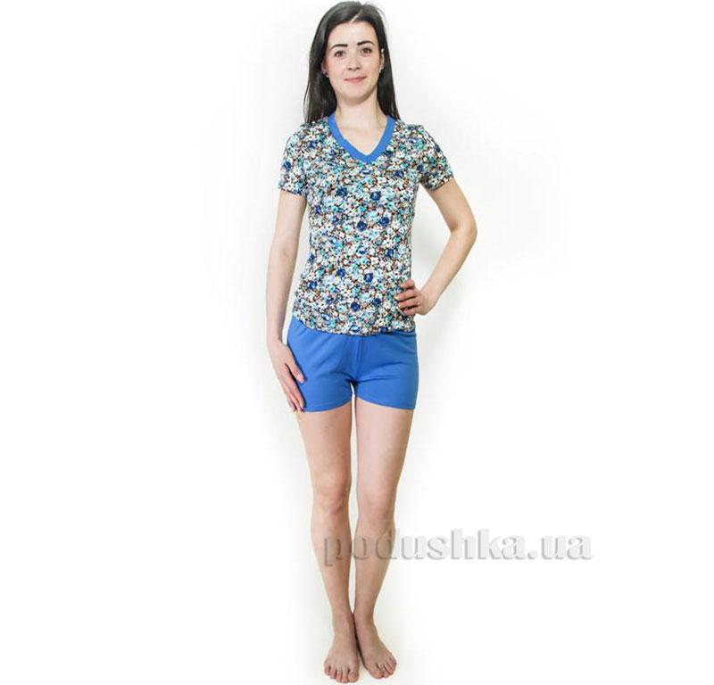 Пижама трикотажная Голубые цветы Santa Mirra