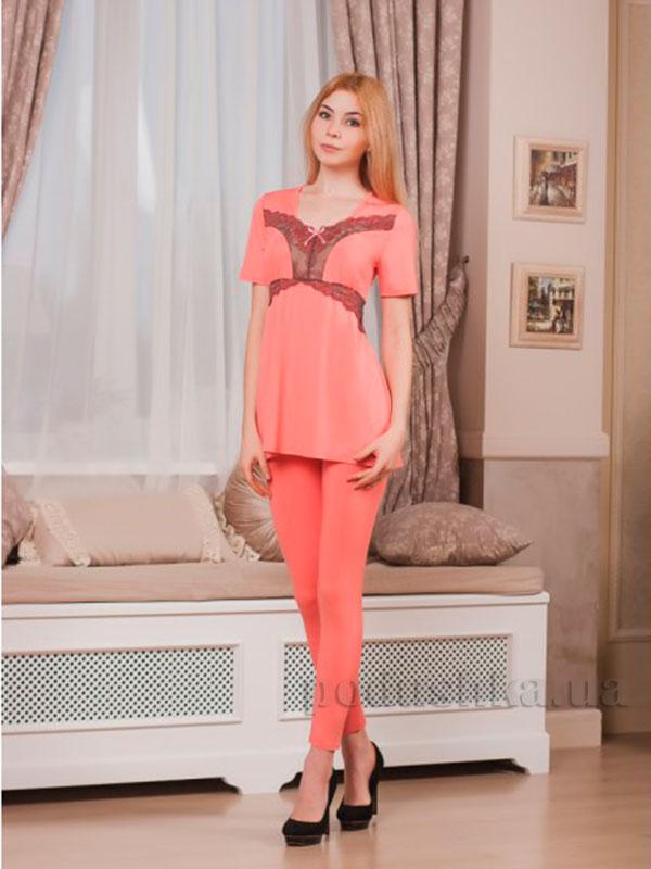 Пижама Violet delux П-М-42 персиковая