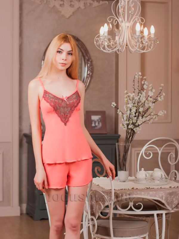 Пижама Violet delux П-М-43 персиковая