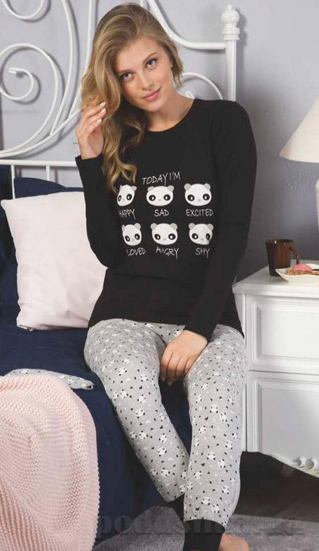 ... Пижама женская Elitol черно-серая 19159 с пандами Пижама для девочек ... e4cfc3b22a347