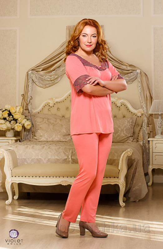 Пижама женская Violet delux П-М-44 персиковая XXL  Violet delux