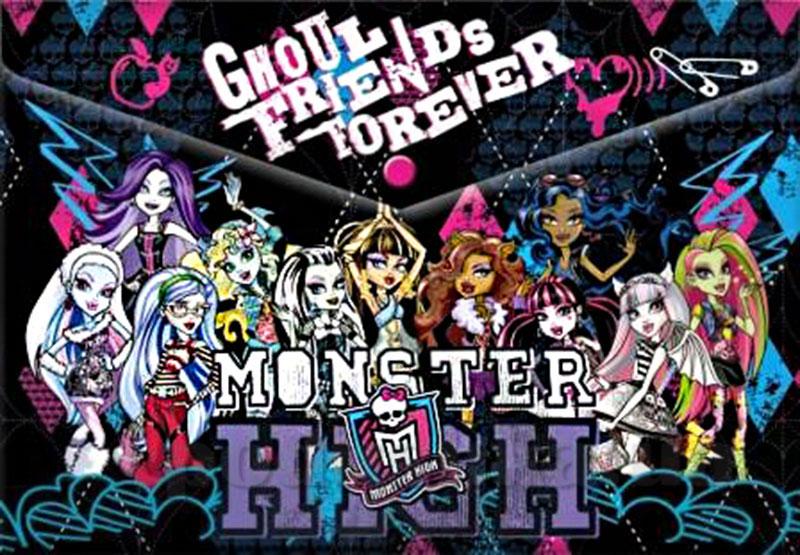 Пластиковая папка-конверт, с застежкой Monster High