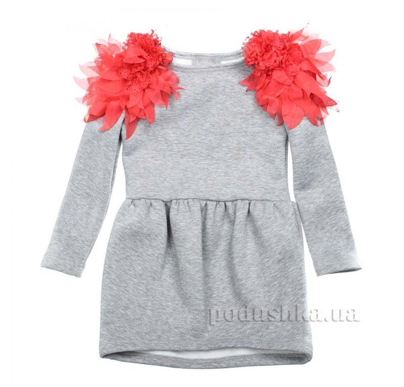Платье Астра Kids Couture 16-07 серое с коралловый