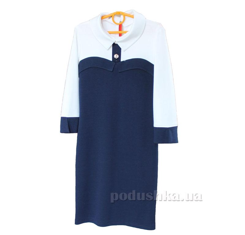 Платье для девочки Промiнь Д-1638 т. синее с белым