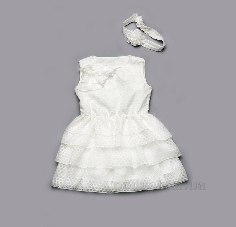 Платье для девочки с оборками Модный карапуз 03-00511 айвори