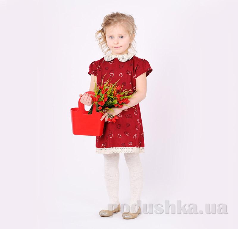 Платье для девочки с воротничком Модный карапуз 03-00487 Сердечки красное
