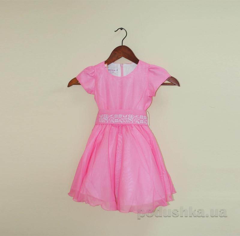 Платье для девочки с вышивкой Bimbissimi ПЛ-1501 розовое