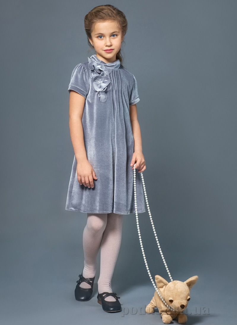 Платье нарядное для девочки Модный карапуз 03-00547 Серое
