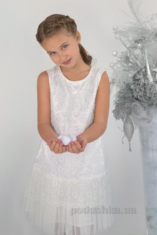 Платье нарядное с гипюром Модный карапуз 03-00621 белое