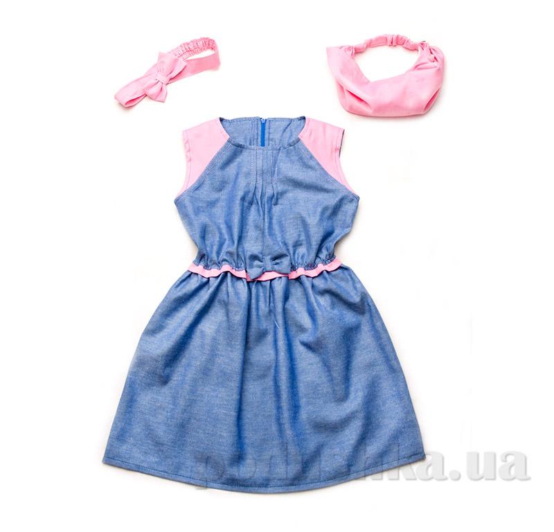 Платье с бантиком летнее для девочки Модный карапуз 03-00493 хлопок сине-розовое 116  Модный карапуз