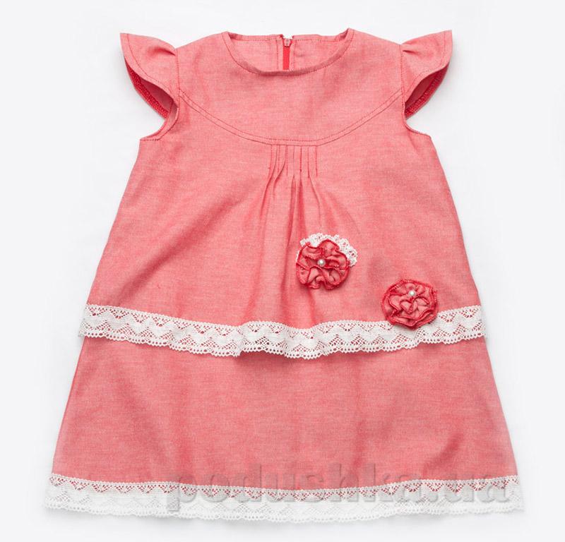 Платье с кружевом Модный карапуз 03-00494 коралловое