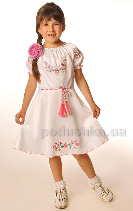Платье Bimbissimi ПЛТ-001 с розовой вышивкой