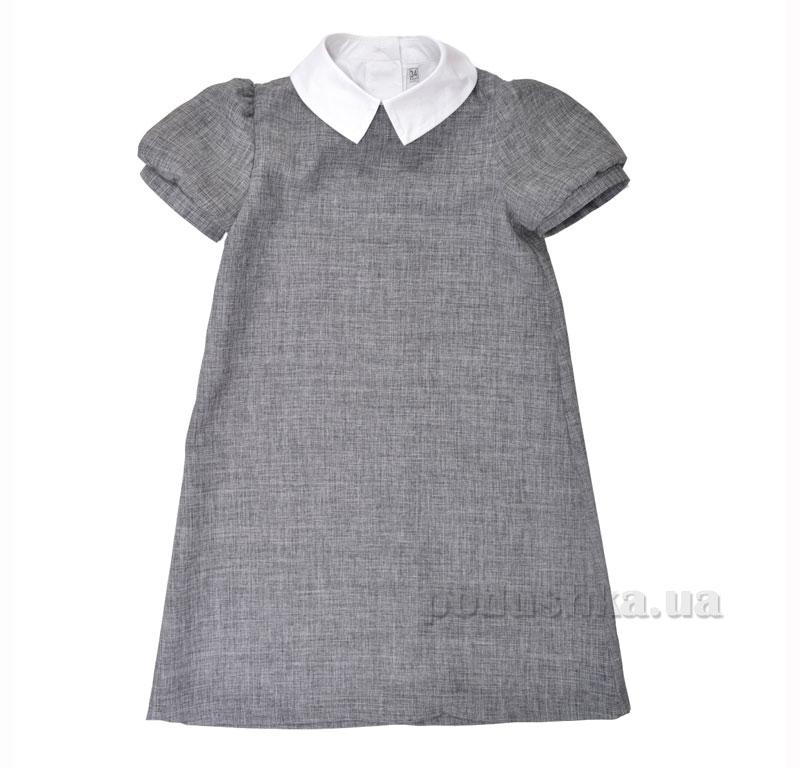 Платье школьное с манишкой Ella Timbo P010198 серое