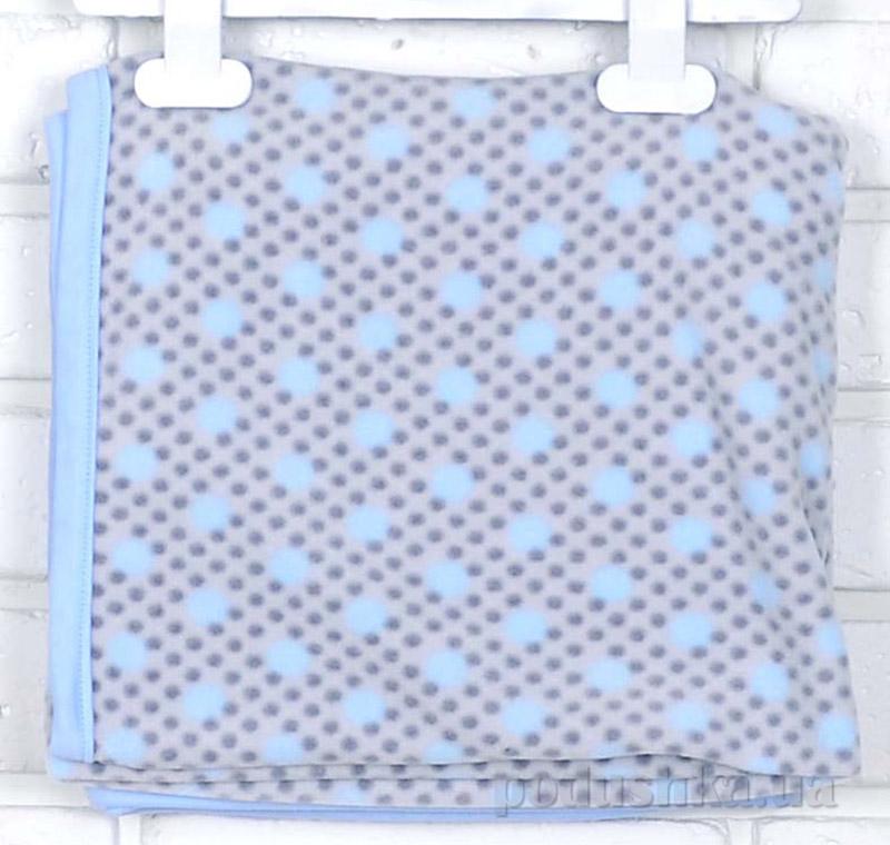 Плед детский флисовый Татошка И-6 голубой в горошек