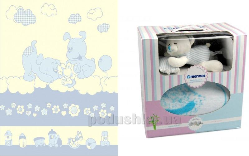 Плед детский Merinos Doggy blue с игрушкой