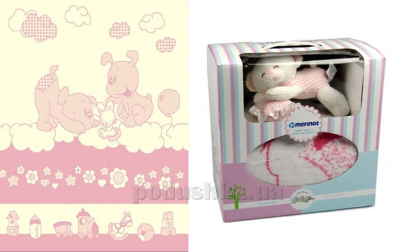 Плед детский Merinos Doggy pink с игрушкой