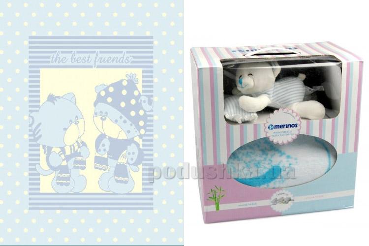 Плед детский Merinos Pisi Pisi blue с игрушкой