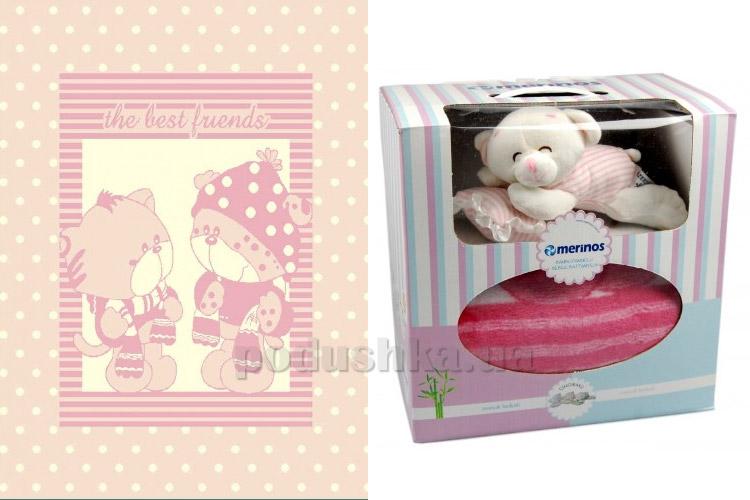 Плед детский Merinos Pisi Pisi pink с игрушкой