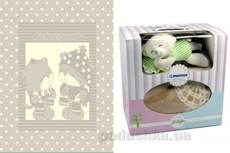 Плед детский Merinos Pisi Pisi stone с игрушкой