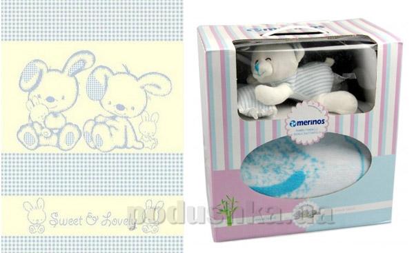 Плед детский Merinos Sweet blue с игрушкой