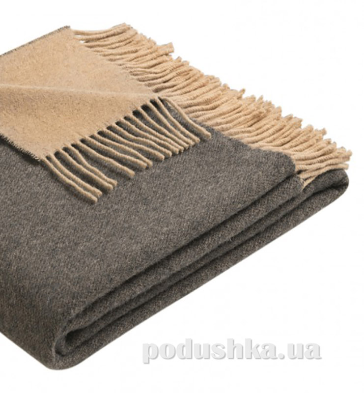 Плед шерстяной Biederlack Cosy & Luxury anthrazit-camel