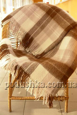 Плед шерстяной Эльф терракотово-коричневый, мелкая клетка ELF-02.02