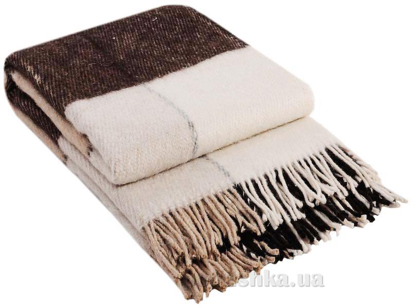 Плед шерстяной Влади Эльф ELF-01.01 белый-бежевый-коричневый
