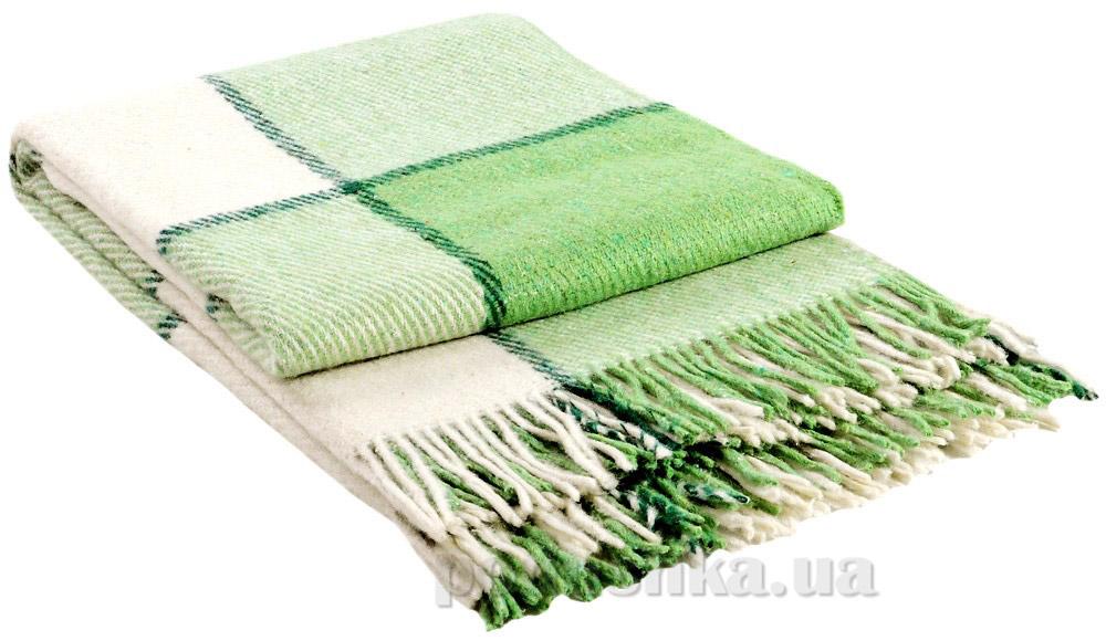 Плед шерстяной Влади Эльф ELF-04.02 белый-салатовый-зеленый