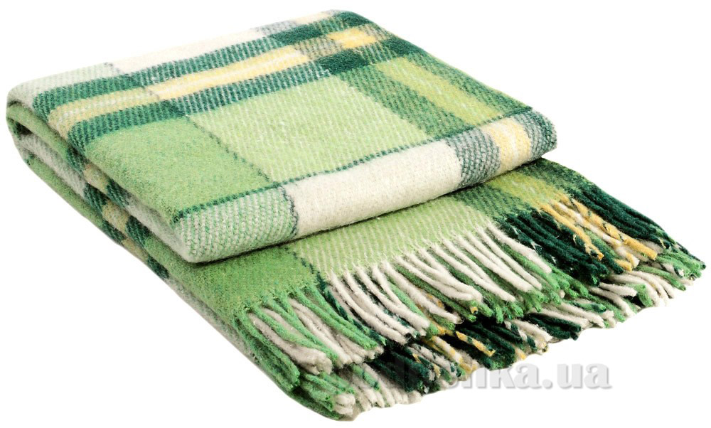 Плед шерстяной Влади Эльф ELF-07.03 белый-салатовый-желтый-зеленый