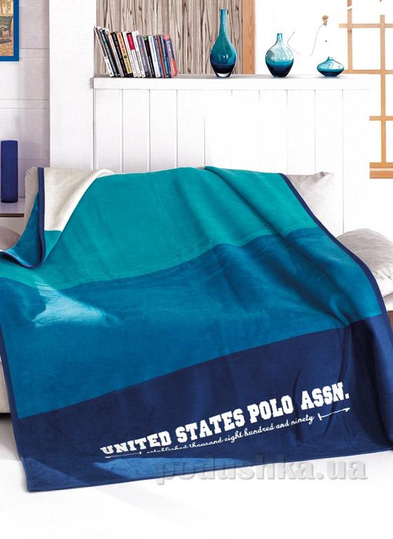 Плед U.S. Polo Assn Omak бирюзовый