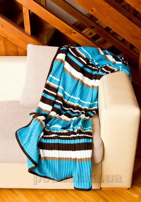 Плед вязаный Perrini голубой с коричневыми и белыми полосками