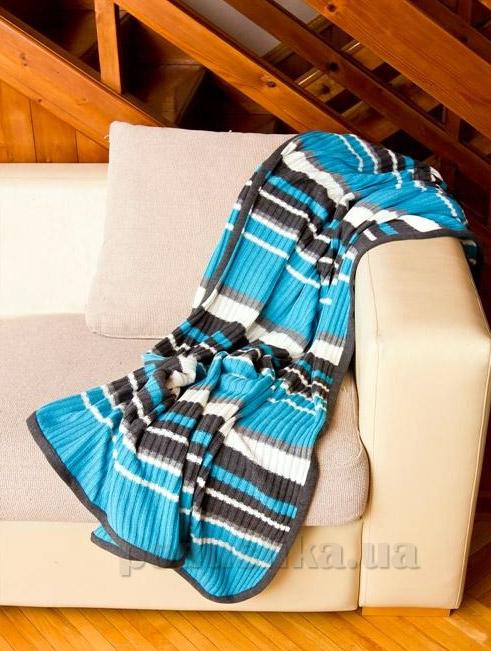 Плед вязаный Perrini голубой с серыми и белыми полосками