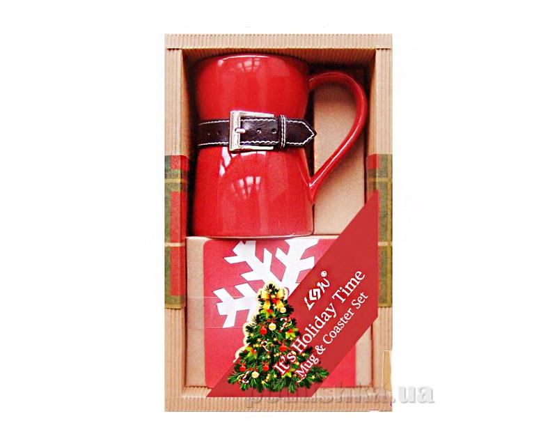 Подарочный набор чашка с кожаным ремнем и подставка Angel Gifts