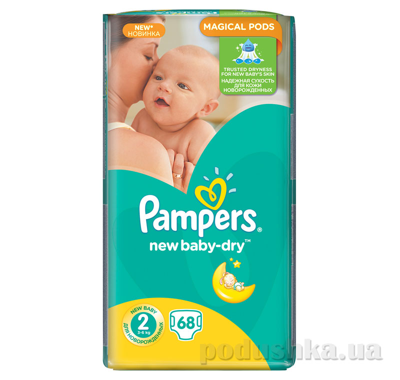 Подгузники Pampers New Baby-Dry Размер 2 (Mini) 3-6 кг, 68 шт