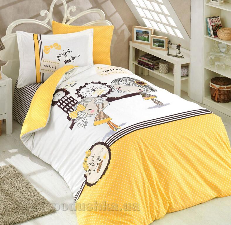 Подростковое постельное белье Hobby Poplin Smile желтое