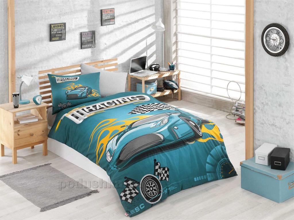 Подростковое постельное белье Hobby ранфорс Racing бирюзовое