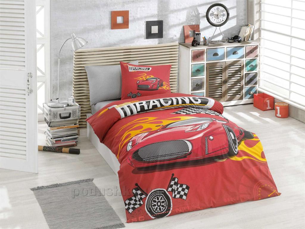 Подростковое постельное белье Hobby ранфорс Racing красное