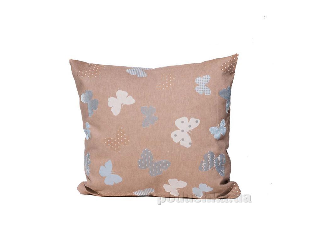 Подушка декоративная Izzihome Бабочка гобелен бежевая