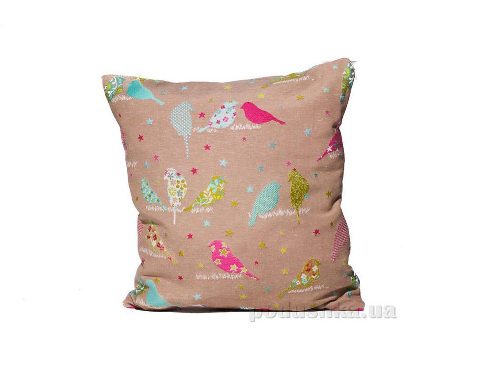 Подушка декоративная Izzihome Птички гобелен серая