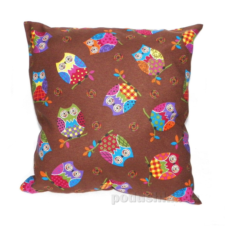 Подушка декоративная Izzihome Совушки шоколадная
