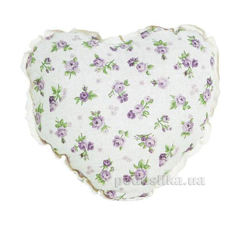 Подушка декоративная Lilac Rose Сердце с кружевом