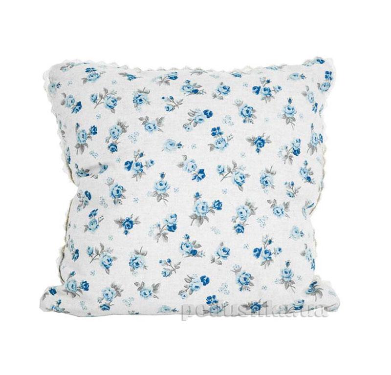 Подушка декоративная Прованс Blue rose с кружевом