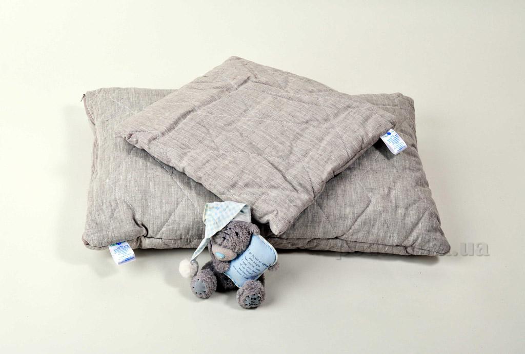 Подушка детская льняная стёганая Хэппи лен 40х60 см вес 1200 г Хэппи Лён